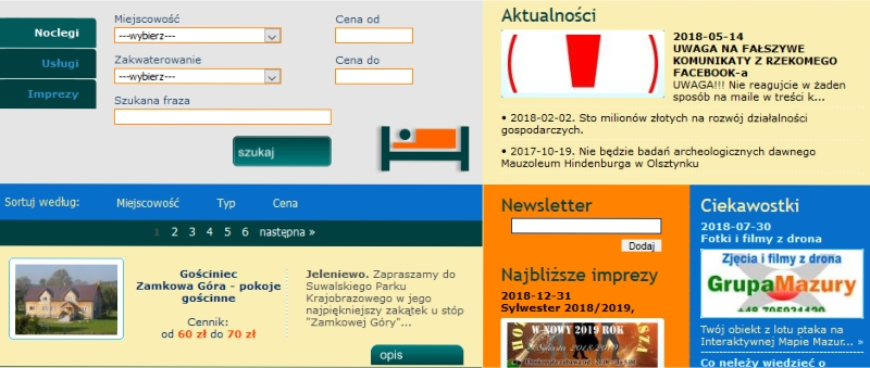 Mazury INFO, katalog ofert podmiotow działajacych na szlaku wielkich jezior mazurskich