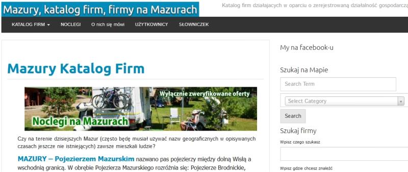 Mazury Pro, katalog firm dzialajacych na Mazurach w opraciu na zarejestrowanej działalności gospodarczej